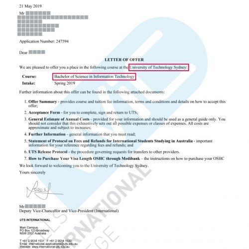 UTS Offer Letter